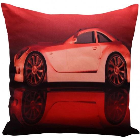 3D dekoračná červená obliečka na vankúš s motívom auta