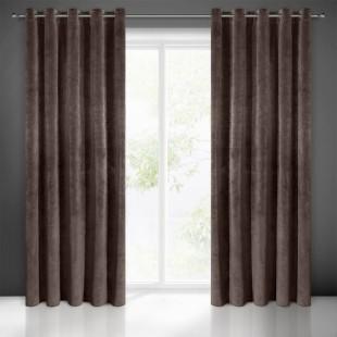 Matný jednofarebný hnedý záves na okno