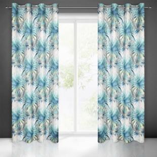 Bielo modrý záves na okno so vzorom