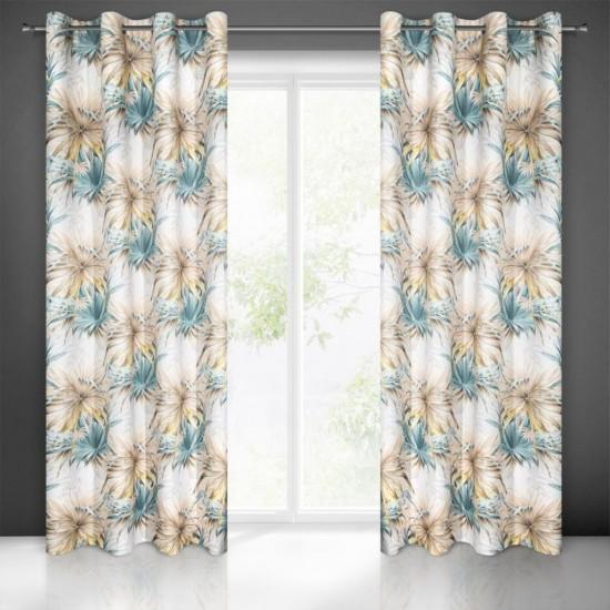 Bielo béžovo modrý záves na okno so vzorom