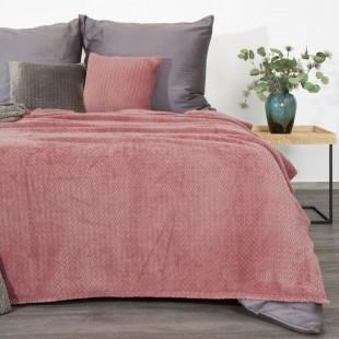 Staroružová dekoračná deka na posteľ so vzorom