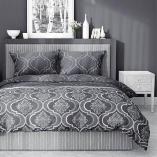 Bavlnené obojstranné posteľné obliečky v sivej farbe so vzorom