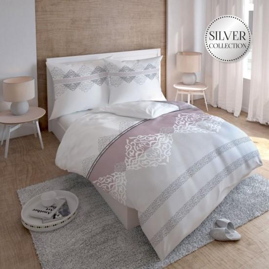 Bavlnené vzorované posteľné obliečky v ružovo bielo sivej farbe
