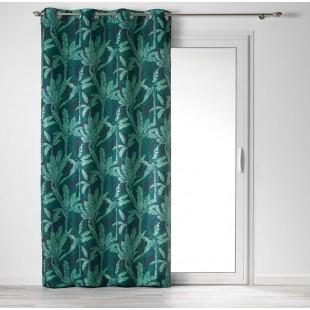 Zelený záves hustej väzby s moderným vzorom exotických listov
