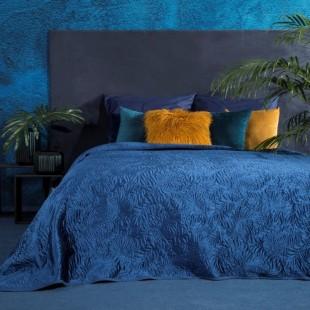 Tmavomodrý dekoračný prehoz na posteľ s prešivaním v tvare palmových vetiev