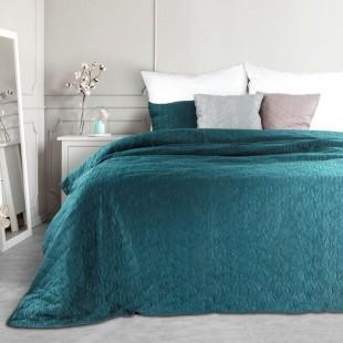Plyšový prešívaný dekoračný prehoz na posteľ v tmavotyrkysovej farbe