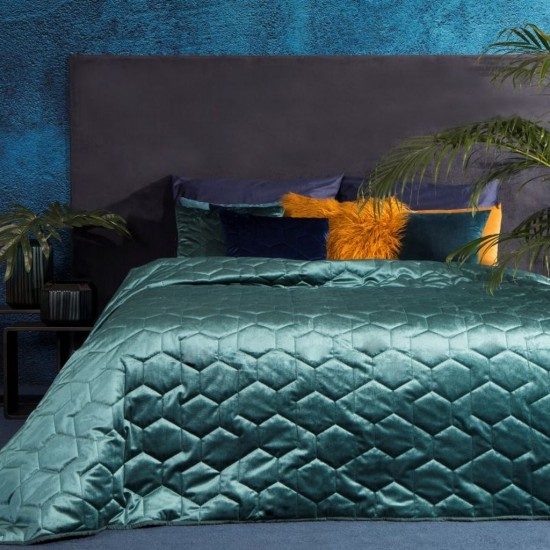 Zamatový tyrkysový prešívaný dekoračný prehoz na posteľ