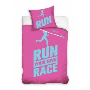 Ružovo modré posteľné obliečky s motívom RUN