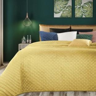 Prešívaný horčicovo žltý dekoračný prehoz na posteľ