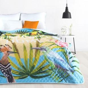 Viacfarebný dekoračný prehoz na posteľ s motívom exotických vtákov