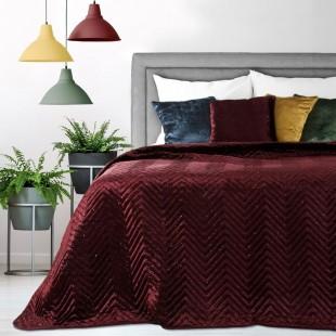 Zamatový dekoračný prehoz na posteľ v bordovej farbe s trblietkami