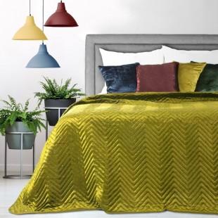 Zamatový dekoračný prehoz na posteľ v horčicovej farbe s trblietkami