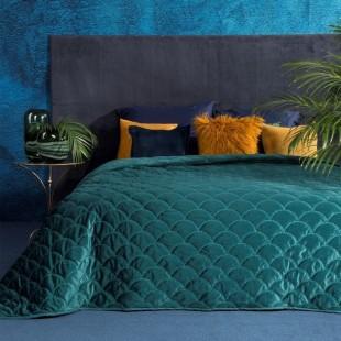 Tmavotyrkysový dekoračný prehoz na posteľ s ozdobným vzorom rybích šupín
