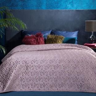 Staroružový dekoračný prešívaný prehoz na posteľ s motívom kvetov