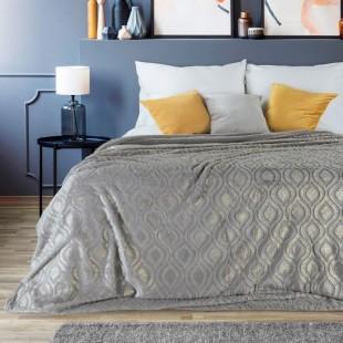 Plyšový strieborno zlatý dekoračný prehoz na posteľ
