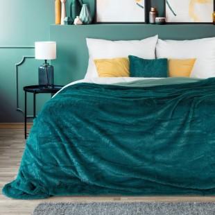 Tmavotyrkysový plyšový dekoračný prehoz na posteľ s krátkym vlasom