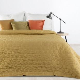 Béžovo olivový jednofarebný prešívaný prehoz na posteľ