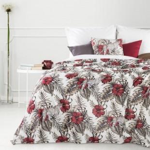 Bielo vínová dekoračná deka na posteľ s exotickým vzorom