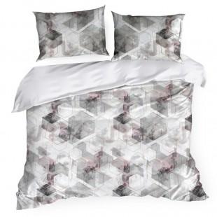 Bielo sivé posteľné obliečky s geometrickými tvarmi