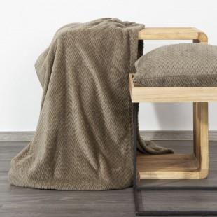 Béžová dekoračná deka na posteľ s cik-cak vzorom