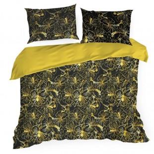 Čierno žlté posteľné obliečky s motívom havajských ruží