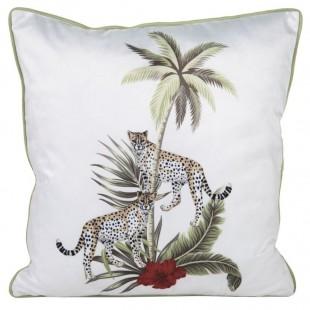 Biela ozdobná obliečka na vankúš s potlačou leopardov