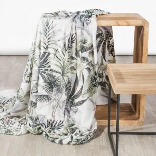 Biela dekoračná deka na posteľ s exotickým motívom