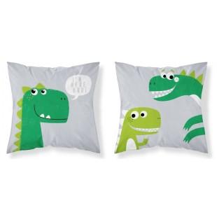 Sivo zelená obliečka na vankúšik s motívom dinosaura