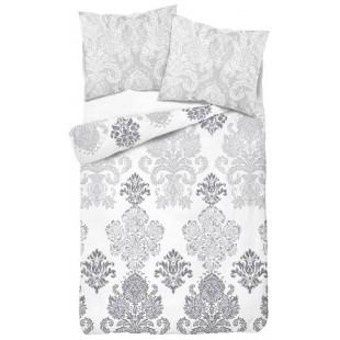 Bielo sivé obojstranné posteľné obliečky s ozdobným ornamentom