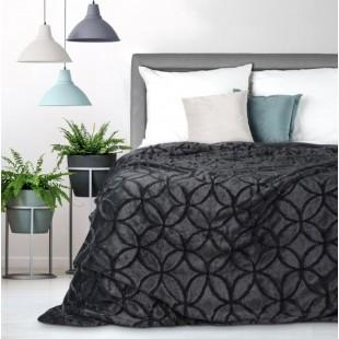 Tmavosivá dekoračná deka na posteľ s motívom kružníc