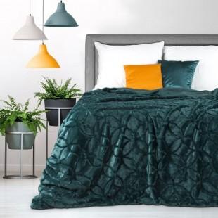 Tmavotyrkysová dekoračná deka na posteľ s motívom kružníc