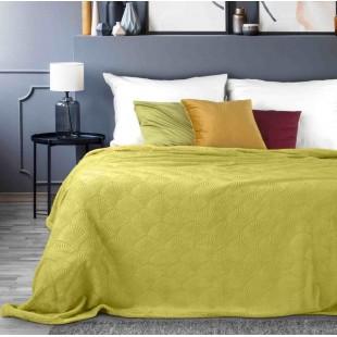 Horčicovo žltá dekoračná deka na posteľ s ozdobným vzorom
