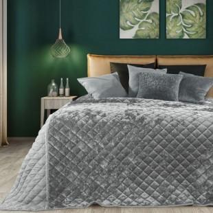 Dekoračný sivý obojstranný prehoz na posteľ