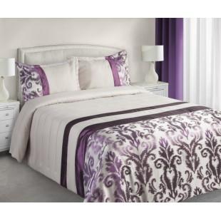 Krémovo fialový dekoračný prehoz na posteľ s elegantným vzorom