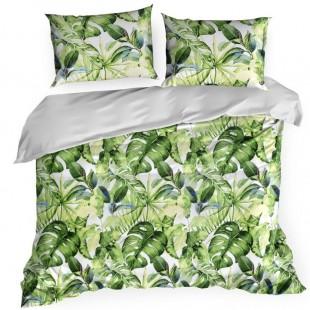 Zeleno biele posteľné obliečky zo saténovej bavlny so vzorom listov