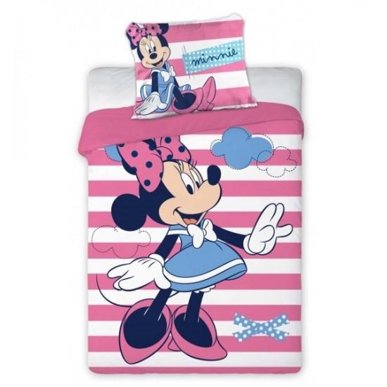 Ružovo biele detské pruhované posteľné obliečky s myškou Minnie