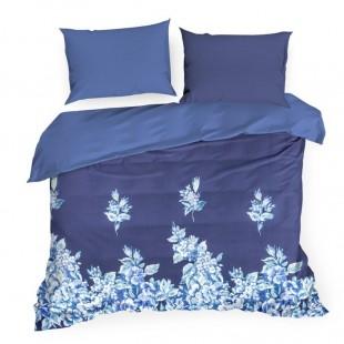 Modré posteľné obliečky zo saténovej bavlny so vzorom kvetov