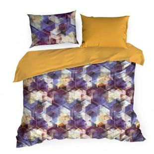 Žlto fialové posteľné obliečky zo saténovej bavlny so vzorom