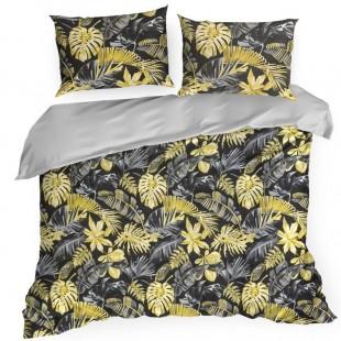 Čierno žlté posteľné obliečky zo saténovej bavlny so vzorom listov