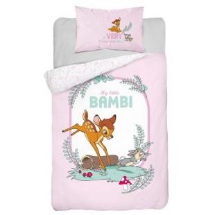 Bavlnené ružovo biele posteľné obliečky pre deti s motívom Bambi