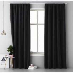 Čierny jednofarebný záves s riasiacou páskou
