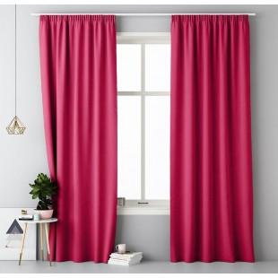 Ružový jednofarebný záves s riasiacou páskou