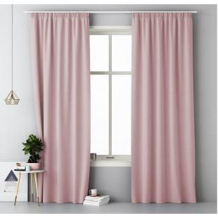 Púdrovo ružový jednofarebný záves s riasiacou páskou