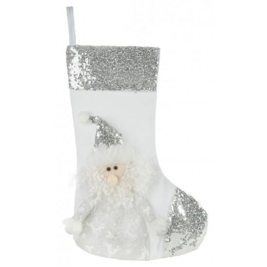 Biela 3D vianočná čižma s trblietkami