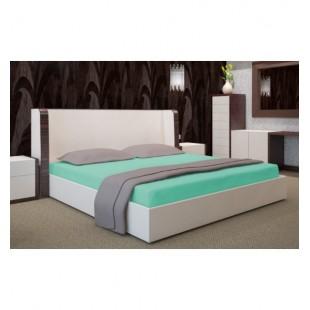 Svetlo tyrkysová posteľná plachta s gumičkou Jersey