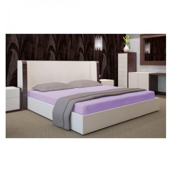 Svetlo fialová jersey posteľná plachta s gumičkou