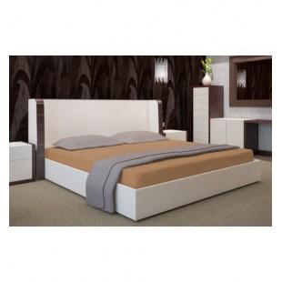 Kvalitná jersey škoricová posteľná plachta s gumičkou