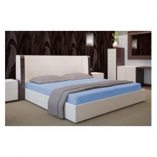 Kvalitná modrá jersey posteľná plachta s gumičkou