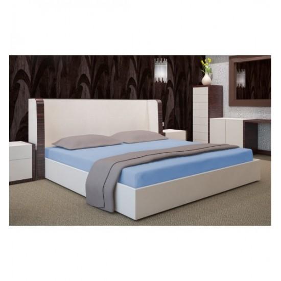 Modrá jersey posteľná plachta s gumičkou
