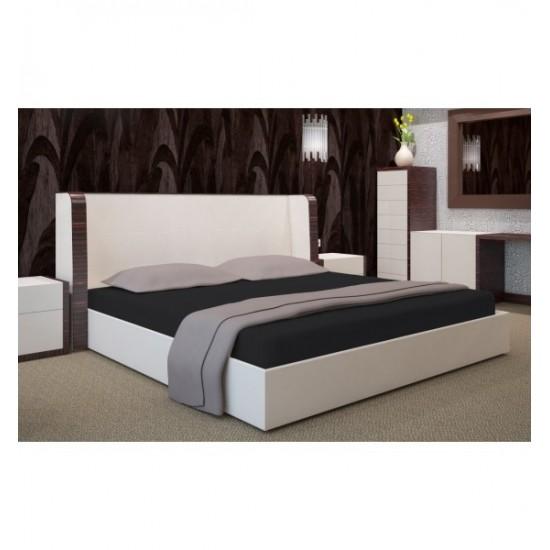 Čierna jersey posteľná plachta s gumičkou